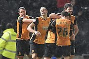 Hull City celebrate Hull City midfielder Sam Clucas (11) scoring to go 2-0 up  during the Sky Bet Championship match between Hull City and Cardiff City at the KC Stadium, Kingston upon Hull, England on 13 January 2016. Photo by Ian Lyall.