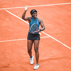 Sloane Stephens (USA) celebrates during Day 10 for the French Open 2018 on June 5, 2018 in Paris, France. (Photo by Anthony Dibon/Icon Sport)