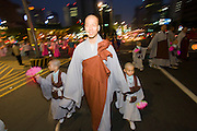 The annual Lotus Lantern Festival is held to celebrate Buddha's Birthday. The big lantern parade from Dongdaemun Stadium to Jogyesa temple. Buddhist monks, large and small.