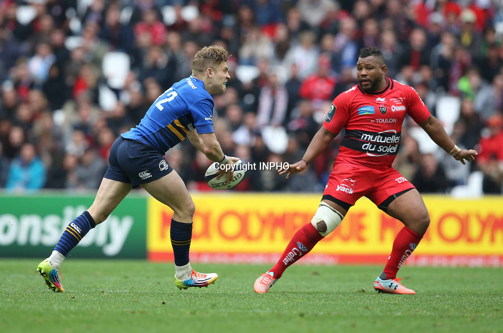 European Rugby Champions Cup Semi-Final, Stade V&eacute;lodrome, Marseille, France 19/4/2015<br /> RC Toulon vs Leinster<br /> Leinster&rsquo;s Ian Madigan tries a long pass which was intercepted for a try by Bryan Habana of Toulon<br /> Mandatory Credit &copy;INPHO/Billy Stickland