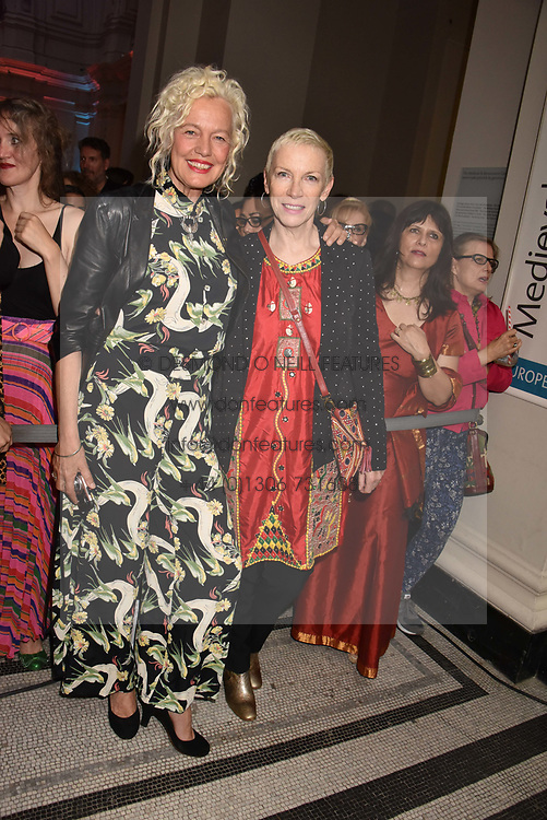 "Ellen von Unwerth and Annie Lennox at the opening of ""Frida Kahlo: Making Her Self Up"" Exhibition at the V&A Museum, London England. 13 June 2018."