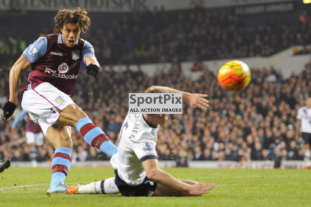 Aston Villas Rudy Gestede gets a shot away during the Tottenham v Aston Villa match in the Barclays Premier League on the 2nd November 2015