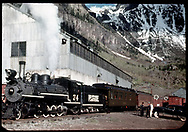 """RGS #74 westbound at Pandora with RMRRC trip.  Consist is #B-21 """"Edna"""", Coach #311, two gondolas and caboose #0400 after turning only the engine on the Pandora wye.<br /> RGS  Pandora, CO  Taken by Maxwell, John W. - 5/28/1949<br /> Thanks to Don Bergman for additional information."""