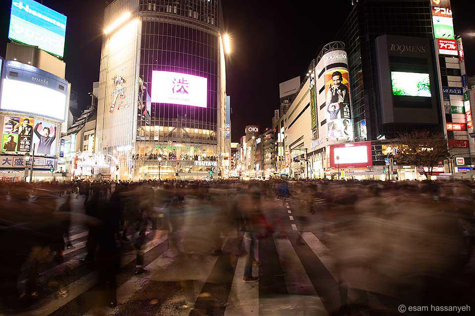 Shibuya crossing at night.