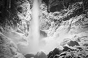 Detail of Bridalveil Fall in winter, Yosemite Valley, Yosemite National Park, California USA