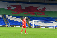 Football - 2019 / 2020 International Friendly - Wales vs. Belarus<br /> <br /> iGareth Bale of Wales, alone in front of a giant welsh dragon flag  at Cardiff City Stadium.<br /> <br /> COLORSPORT/WINSTON BYNORTH