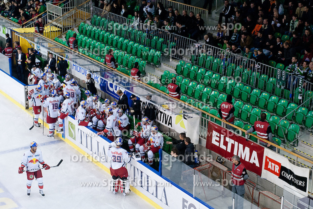 Bench of EC Red Bull Salzburg and empty seat behind bench for security reasons during ice-hockey match between HDD Tilia Olimpija and EC Red Bull Salzburg in 20th Round of EBEL league, on November 6, 2011 at Hala Tivoli, Ljubljana, Slovenia. HDD Tilia Olimpija won in overtime 3:2. (Photo By Matic Klansek Velej / Sportida)