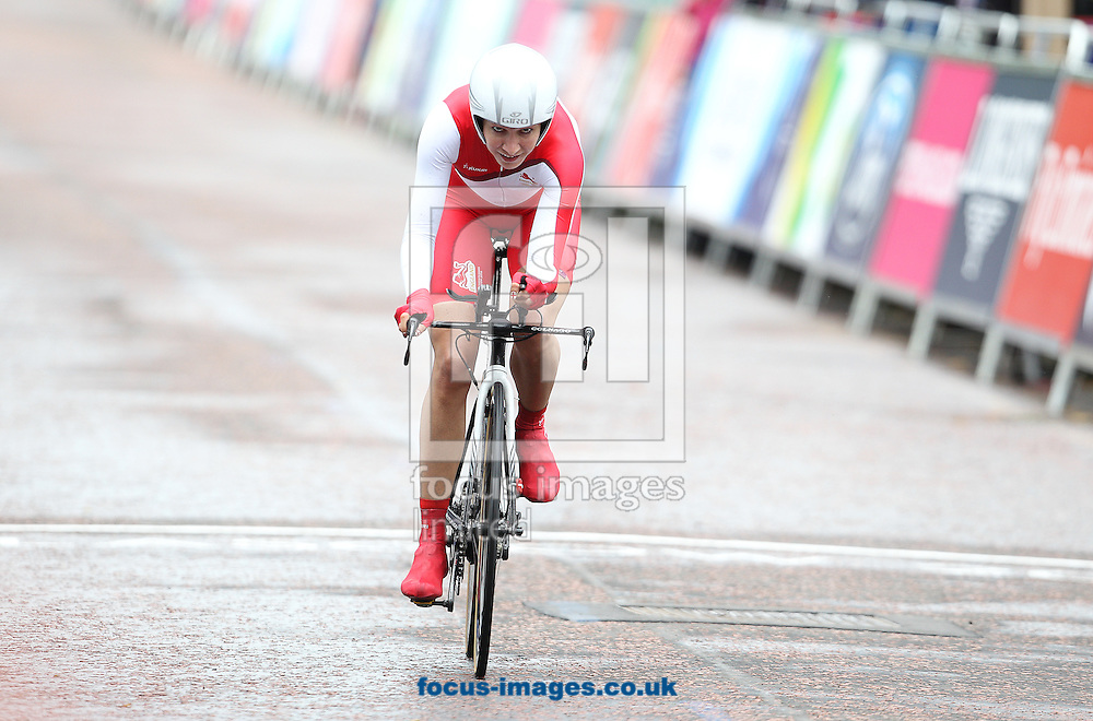 Joanna Rowsell of England in action during the Women's Time Trial at Glasgow City, during the Glasgow 2014 Commonwealth Games.<br /> Picture by Paul Terry/Focus Images Ltd +44 7545 642257<br /> 31/07/2014