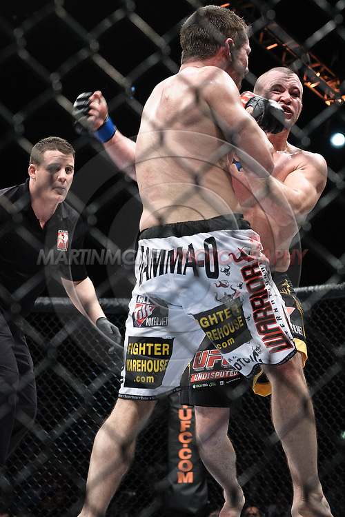 "DUBLIN, IRELAND, JANUARY 17, 2009: Chris Lytle (facing) is stunned by a left hook from Marcus Davis during ""UFC 93: Franklin vs. Henderson"" inside the O2 Arena in Dublin, Ireland"