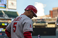 Albert Pujols #5 of the Los Angeles Angels waits on-deck during a game against the Minnesota Twins on April 16, 2013 at Target Field in Minneapolis, Minnesota.  The Twins defeated the Angels 8 to 6.  Photo: Ben Krause