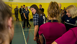 Pictured: Aileen Campbell meets the members of the Fettes College Ladies Cricket Team and shows that the Scotland strip has all the names of Scottish cricket clubs on the back. <br /> Aileen Campbell MSP (Minister for Public Health and Sport) joined Abbi Aitken (Scotland captain) Steve Knox (Scotland women's coach), Nicola Wilson (CS women's participation manager) and Oli Rae (opener for Edinburgh and Scotland) today at Edinburgh' Fettes College to promote women's cricket ahead of the national team's trip to Sri Lanka for the ICC Women's World Cup Qualifier (in Sri Lanka) on 29 January. <br /> Ger Harley   EEm 24 January 2017