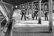 Malting floor in an American brewery. Wood engraving 1885