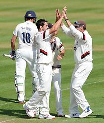 Somerset's Tim Groenewald celebrates the wicket of Durham's Calum Macleod- Photo mandatory by-line: Harry Trump/JMP - Mobile: 07966 386802 - 13/04/15 - SPORT - CRICKET - LVCC County Championship - Day 2 - Somerset v Durham - The County Ground, Taunton, England.