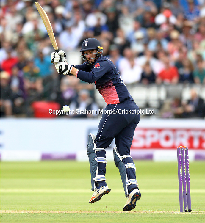 Toby Roland-Jones bats (in his first ODI) during the third and final Royal London One Day Series match between England and South Africa at Lord's. Photo: Graham Morris / www.photosport.nz
