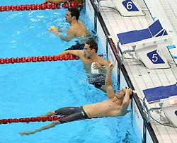 29th July 2012 - London 2012 Olympic Games - Swimming - Men's 100m Breaststroke Final - Cameron van de Burgh (RSA) celebrates victory - Photo: Simon Stacpoole / Offside/SPORTZPICS