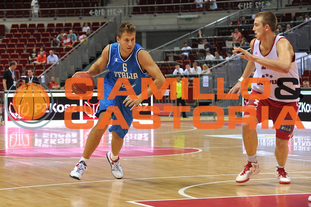 DESCRIZIONE : DANZICA POLONIA TORNEO INTERNAZIONALE SOPOT BASKET CUP Lettonia Italia<br /> GIOCATORE : stefano mancinelli<br /> CATEGORIA : palleggio<br /> SQUADRA : Nazionale Italia Maschile<br /> EVENTO : TORNEO INTERNAZIONALE SOPOT BASKET CUP<br /> GARA : Lettonia Italia<br /> DATA : 03/08/2012<br /> SPORT : Pallacanestro<br /> AUTORE : Agenzia Ciamillo-Castoria/M.Gregolin<br /> Galleria : FIP Nazionali 2012<br /> Fotonotizia :  DANZICA POLONIA TORNEO INTERNAZIONALE SOPOT BASKET CUP Lettonia Italia<br /> Predefinita :
