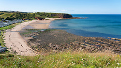 View of Pease Bay beach on Berwickshire coast, Scotland, UK.