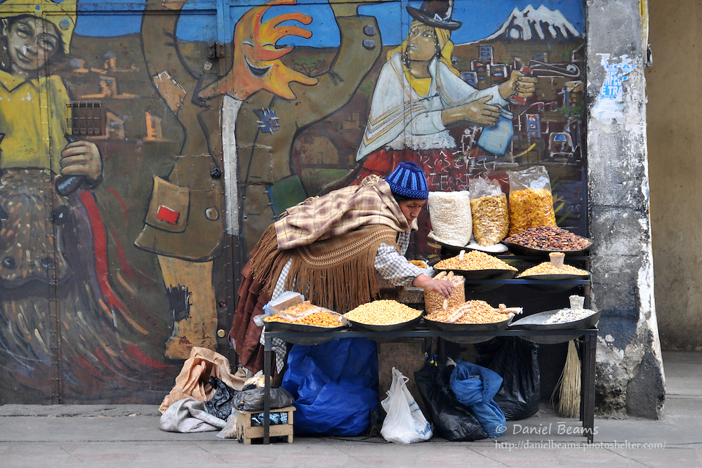 Street market stall in La Paz, Bolivia