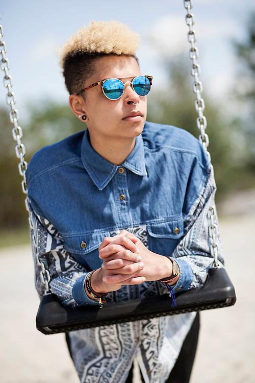 The blue shirt - Lavinia Prudentos by Street Fashion Photographer Munich - Kpaou Kondodji