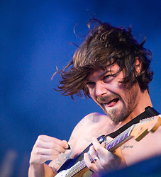 Simon Neil of Biffy Clyro play the main stage on Sunday, Rockness 2009..©2009 Michael Schofield. All Rights Reserved..