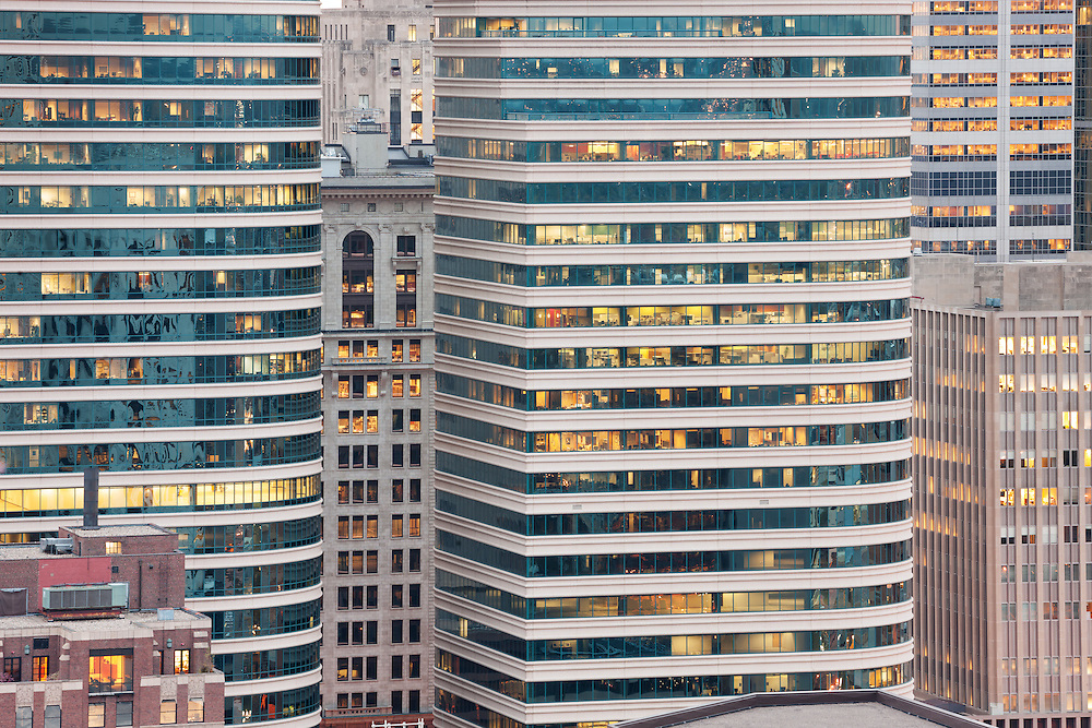 Minneapolis highrises form a concrete jungle of offices and apartments.