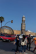 = clock tower at the entrance of the old medina  nations unis square casablanca morocco +