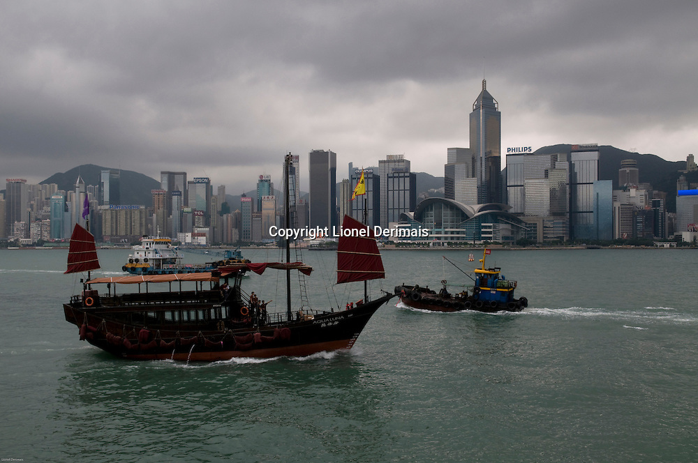 Chinese junk type in Hong Kong Victoria harbour.