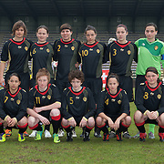 21120413 - HARELBEKE, BELGIUM : Team Belgium poses for a team picture during the Second qualifying round of U17 Women Championship between Switzerland and Belgium on Friday April 13th, 2012 in Harelbeke, Belgium.