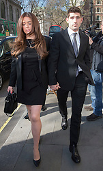 © Licensed to London News Pictures. 22/03/2016. London, UK. Footballer Ched Evans and his girlfriend Natasha Massey arrives at The Royal Courts of Justice to attend a pre appeal hearing for his rape conviction.  Photo credit: Peter Macdiarmid/LNP