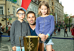 Slovenian EuroVolley Ambassador Tomislav Šmuc presented a glittering gold-plated EuroVolley trophy with 99 days to go and 99 Mini Volleyball courts were available in Ljubljana downtown to promote the CEV EuroVolley 2019 Men, on June 5th, 2019, in front of the Town Hall, Ljubljana, Slovenia. Photo by Vid Ponikvar / Sportida
