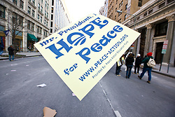 Hope for Peace sign floating above street at Presidential Inauguration of Barack Obama, Washington D.C., USA.