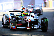 Venturi driver, Mike Conway fending off a driver from behind during Round 9 of Formula E, Battersea Park, London, United Kingdom on 2 July 2016. Photo by Matthew Redman.