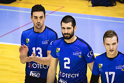 Players of Šoštanj Topolšica entering the field before  volleyball match between Panvita Pomgrad and Šoštanj Topolšica of 1. DOL Slovenian National Championship 2019/20, on December 14, 2019 in Osnovna šola I, Murska Sobota, Slovenia. Photo by Blaž Weindorfer / Sportida