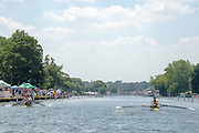 """Henley on Thames, United Kingdom, 3rd July 2018, Sunday,  """"Henley Royal Regatta"""",  Double Sculls Challenge Cup , Finalists, (Left) Bow Angus GROOM, Stroke Jack BEAUMONT GBR M2X, Leander Club,(Right) Bow Gary O'DONOVAN, Stroke Paul O'DONOVAN, IRL M2X, Skibbereen Rowing Club, the crews pass Remenham Club,  View, Henley Reach, River Thames, Thames Valley, England, UK."""