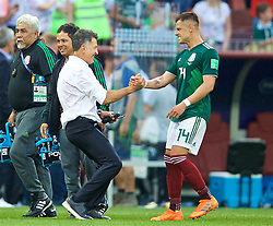 MOSCOW, RUSSIA - Sunday, June 17, 2018: Mexico's head coach Juan Carlos Osorio celebrates with Javier Hernandez after beating Germany 1-0 during the FIFA World Cup Russia 2018 Group F match between Germany and Mexico at the Luzhniki Stadium. (Pic by David Rawcliffe/Propaganda)