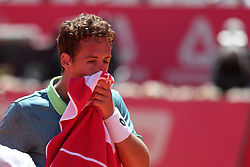 May 4, 2018 - Lisbon, Portugal - Roberto Carballes Baena of Spain reacts during his game against Stefanos Tsitsipas of Greece during the Millennium Estoril Open ATP 250 tennis tournament quarterfinals, at the Clube de Tenis do Estoril in Estoril, Portugal on May 4, 2018. (Credit Image: © Pedro Fiuza/NurPhoto via ZUMA Press)