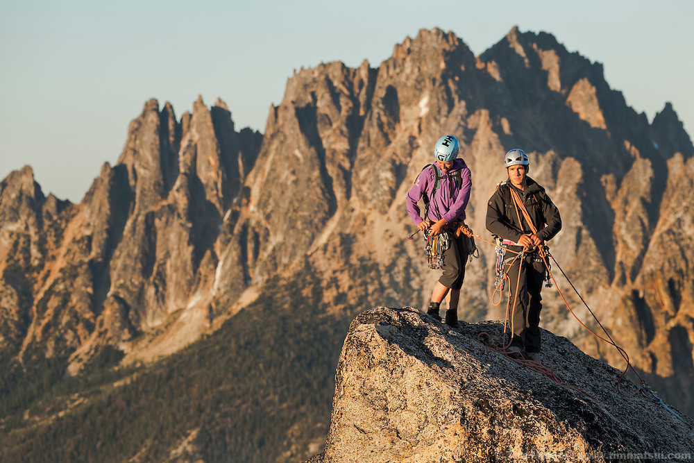 Mountain Madness Climbing Guides at the North Cascades' Washington Pass climbing the South Arete of South Early Winter Spire and the Northwest Corner of North Early Winter Spire for a Helly Hansen commercial shoot.