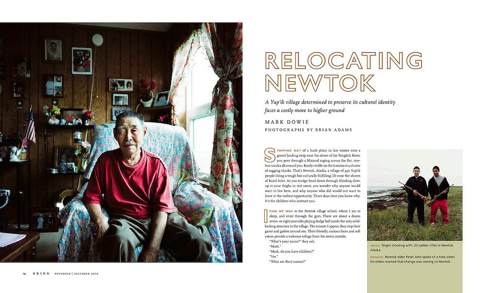Relocating Newtok. Orion Magazine Nov/Dec issue 2010.