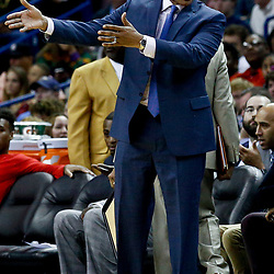 Jan 25, 2017; New Orleans, LA, USA; New Orleans Pelicans head coach Alvin Gentry against the Oklahoma City Thunder during the second quarter of a game at the Smoothie King Center. Mandatory Credit: Derick E. Hingle-USA TODAY Sports