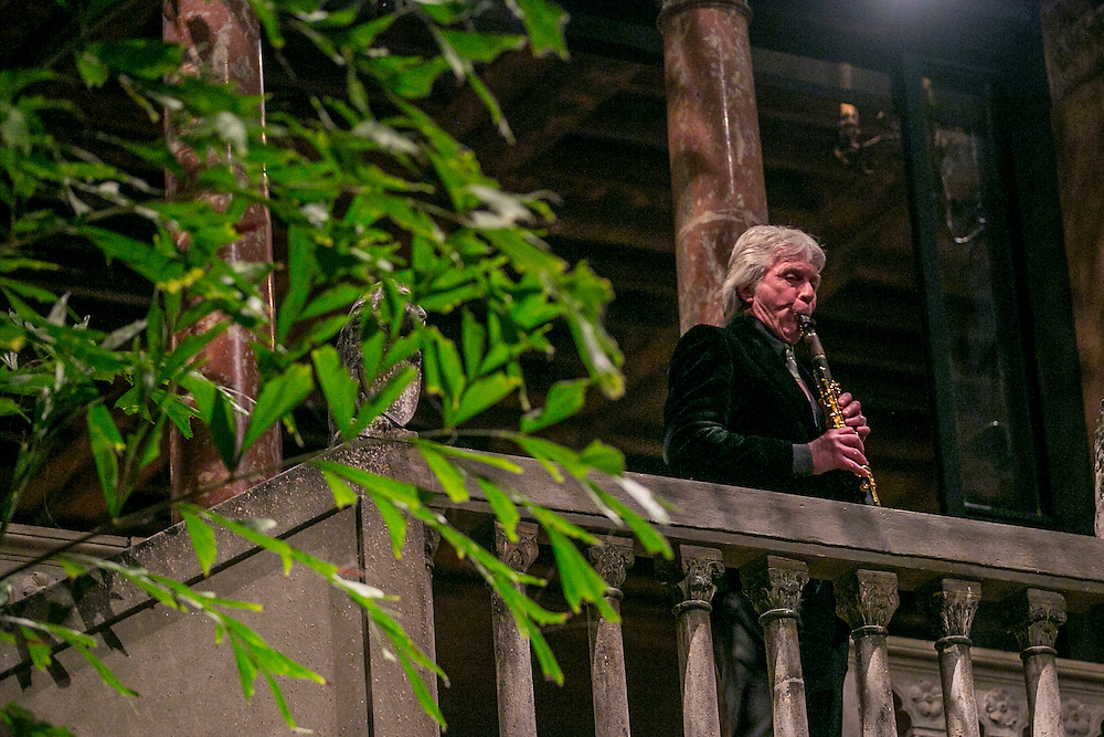 December 15, 2015, Boston, MA:<br /> A clarinetist performs during a farewell celebration for Anne Hawley at the Isabella Stewart Gardner Museum in Boston, Massachusetts Tuesday, December 15, 2015.<br /> (Photo by Billie Weiss/Isabella Stewart Gardner Museum)