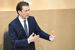 "27.05.2019, Hofburg, Wien, AUT, Sondersitzung des Nationalrates, Sitzung des Nationalrates aufgrund des Misstrauensantrags der Liste JETZT, FPOE und SPOE gegen Bundeskanzler Sebastian Kurz (OeVP) und die Bundesregierung, im Bild Sebastian Kurz (ÖVP) // during special meeting of the National Council of austria due to the topic ""motion of censure against the federal chancellor Sebastian Kurz (OeVP) and the federal government"" at the Hofburg in Wien, Austria on 2019/05/27. EXPA Pictures © 2019, PhotoCredit: EXPA/ Lukas Huter"