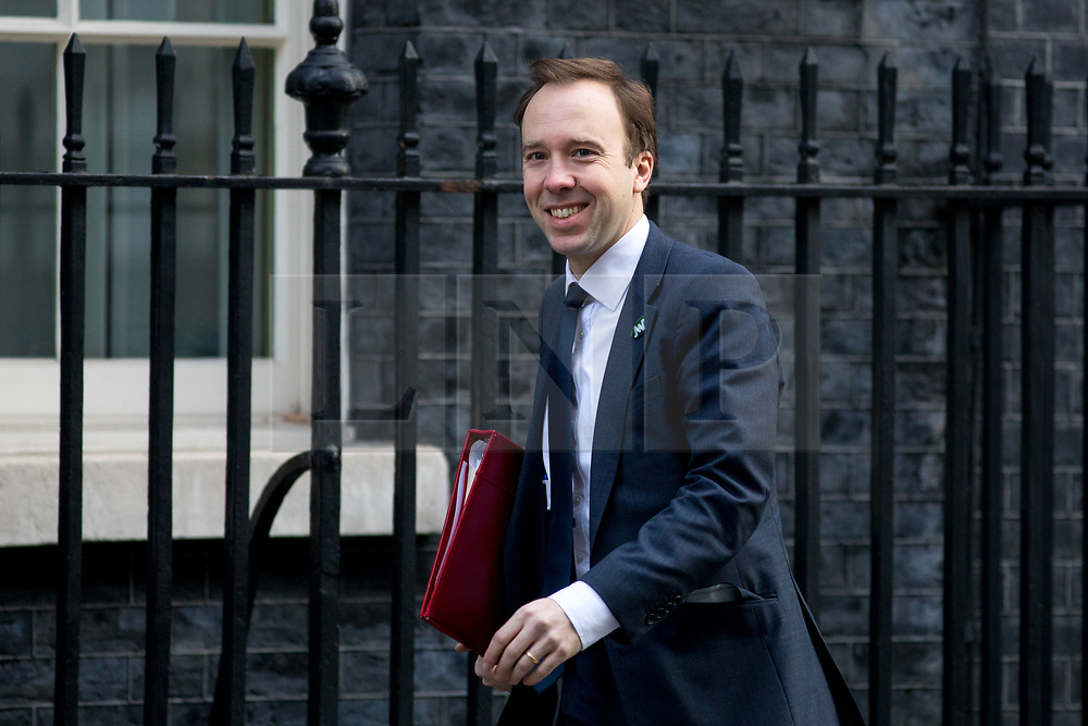 © Licensed to London News Pictures. 06/02/2018. London, UK. Secretary of State for Digital, Culture, Media and Sport Matt Hancock arriving in Downing Street to attend a Cabinet meeting this morning. Photo credit : Tom Nicholson/LNP