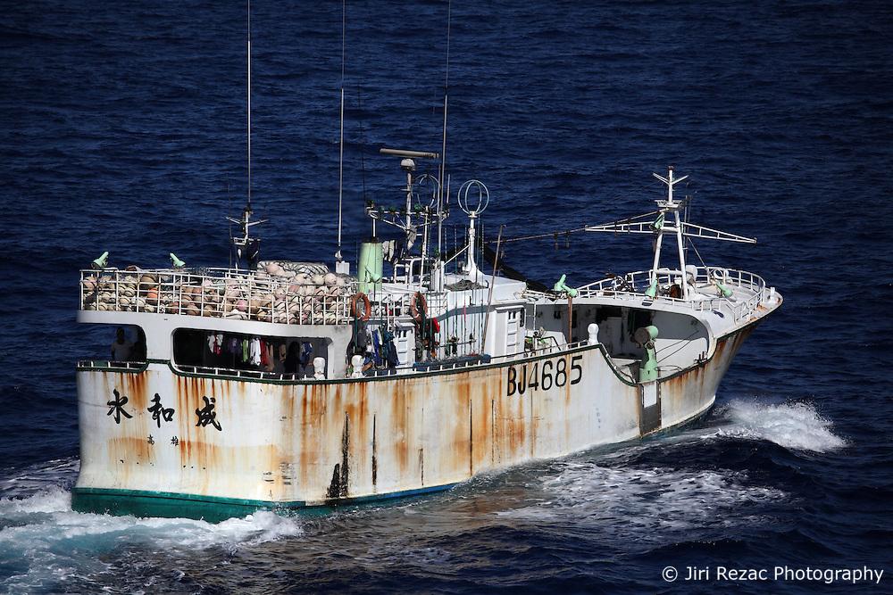 INDIAN OCEAN 27APR13 - Taiwanese-registered longliner Shui Ho Cheng in the Indian Ocean.<br /> <br /> The Greenpeace ship Esperanza is on patrol documenting fishing activities in the Indian Ocean.<br /> <br /> jre/Photo by Jiri Rezac / Greenpeace