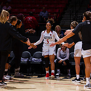 09 November 2018: San Diego State Aztecs guard Te'a Adams (5) is introduced prior to taking on the Hawaii Warriors. The Aztecs opened up it's regular season schedule with a 58-57 win over Hawaii Friday at Viejas Arena.