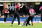 Wicket - Jamie Overton of Somerset celebrates taking the wicket of Rilee Rossouw of Hampshire during the Royal London 1 Day Cup Final match between Somerset County Cricket Club and Hampshire County Cricket Club at Lord's Cricket Ground, St John's Wood, United Kingdom on 25 May 2019.