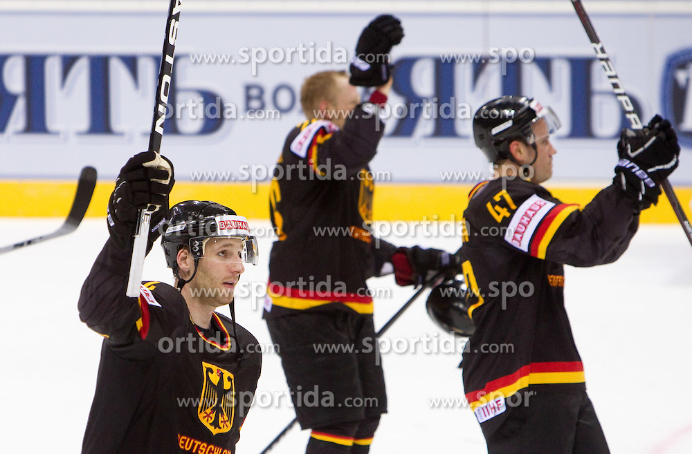 Andre Rankel and Christoph Ullmann of Germany celebrate after the ice-hockey match between Germany and Russia of Group A of IIHF 2011 World Championship Slovakia, on April 29, 2011 in Orange Arena, Bratislava, Slovakia. Germany defeated Russia 2-0. (Photo By Vid Ponikvar / Sportida.com)