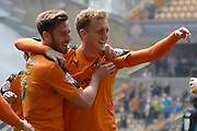Wolverhampton Wanderers midfielder George Saville celebrates second goal during the Sky Bet Championship match between Wolverhampton Wanderers and Sheffield Wednesday at Molineux, Wolverhampton, England on 7 May 2016. Photo by Alan Franklin.