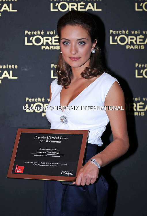 """CAROLINA CRESCENTINI.who received the L'Oreal Paris award, at the  66th Venice Film Festival , Venice_11/09/2009.Mandatory Credit Photo: ©NEWSPIX INTERNATIONAL..**ALL FEES PAYABLE TO: """"NEWSPIX INTERNATIONAL""""**..IMMEDIATE CONFIRMATION OF USAGE REQUIRED:.Newspix International, 31 Chinnery Hill, Bishop's Stortford, ENGLAND CM23 3PS.Tel:+441279 324672  ; Fax: +441279656877.Mobile:  07775681153.e-mail: info@newspixinternational.co.uk"""