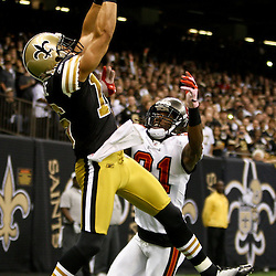 November 6, 2011; New Orleans, LA, USA; New Orleans Saints wide receiver Lance Moore (16) catches a touchdown over Tampa Bay Buccaneers cornerback E.J. Biggers (31) during the first quarter of a game at the Mercedes-Benz Superdome. Mandatory Credit: Derick E. Hingle-US PRESSWIRE