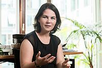 02 JUL 2019, BERLIN/GERMANY:<br /> Annalena Baerbock, MdB, B90/Gruene, Parteivorsitzende, waehrend einem Interview, in ihrem Buero, Jakob-Kaiser-Haus, Deutscher Bundestag<br /> IMAGE: 20190702-01-025